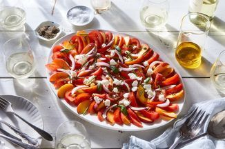 Tomato, Peach, Chèvre, and Herb Salad with Apple Vinaigrette - Food -