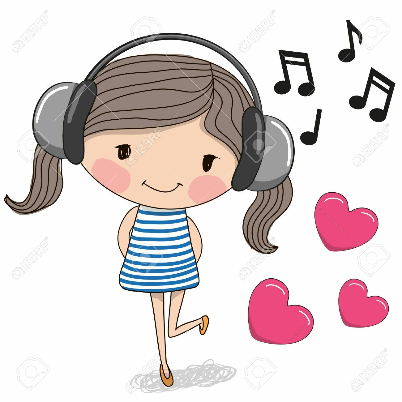 Pin By Adriana Cerretani On Digis Cute Cartoon Girl Girl With Headphones Cute Cartoon