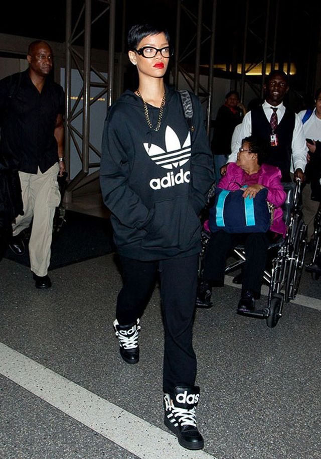 178794a26184 Rihanna wearing Adidas Jeremy Scott Instinct Black