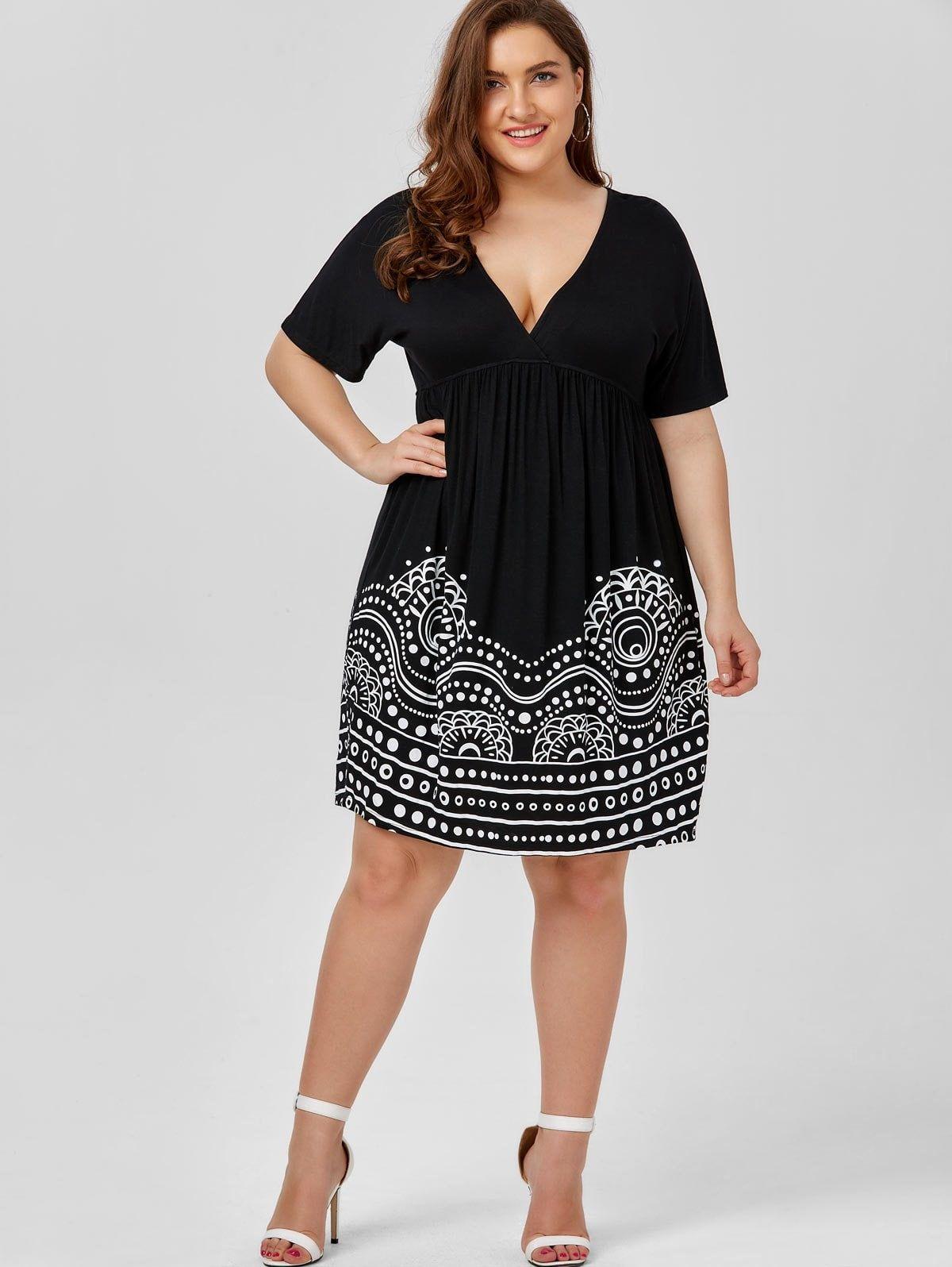 Low Cut Empire Waist Plus Size A Line Dress -   Plus Size ...
