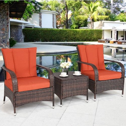 costway 3pcs outdoor patio mix brown rattan wicker furniture set rh pinterest com