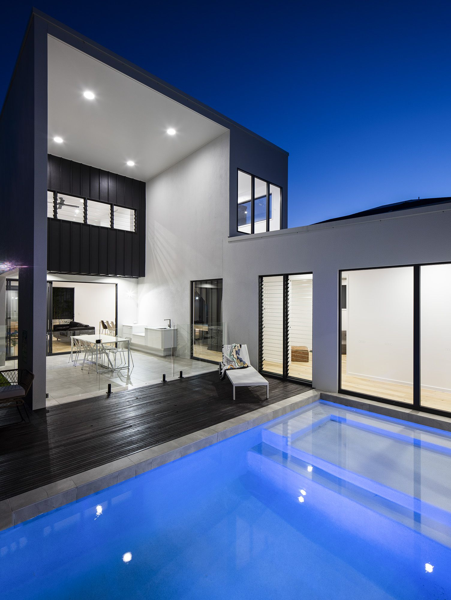 Check out this swimming pool at dusk design by immackulate designer homes the peregian also rh pinterest