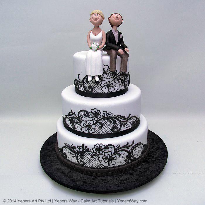Black Lace And Funny Couple Wedding Cake Yeners Way Cake Lace