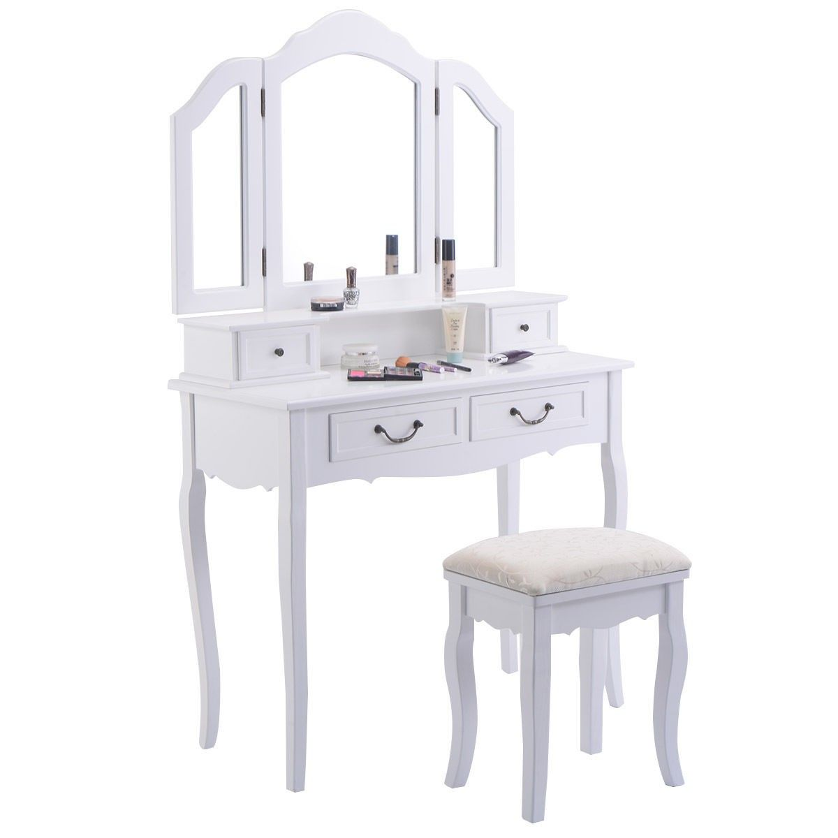 vanity makeup dressing table with tri folding mirror 4 drawers rh pinterest co uk