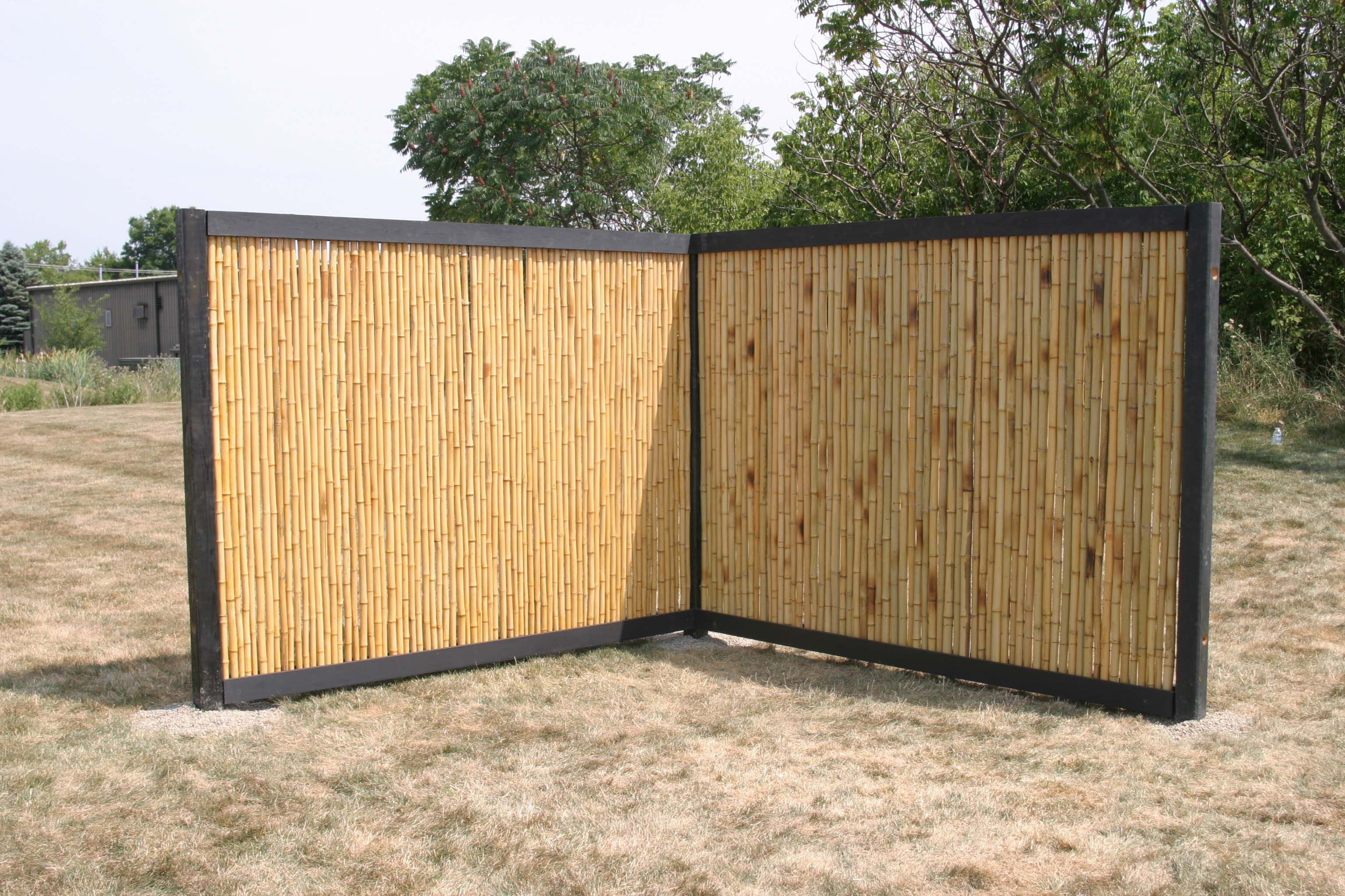 Test installation of bamboo fencing at Waddell