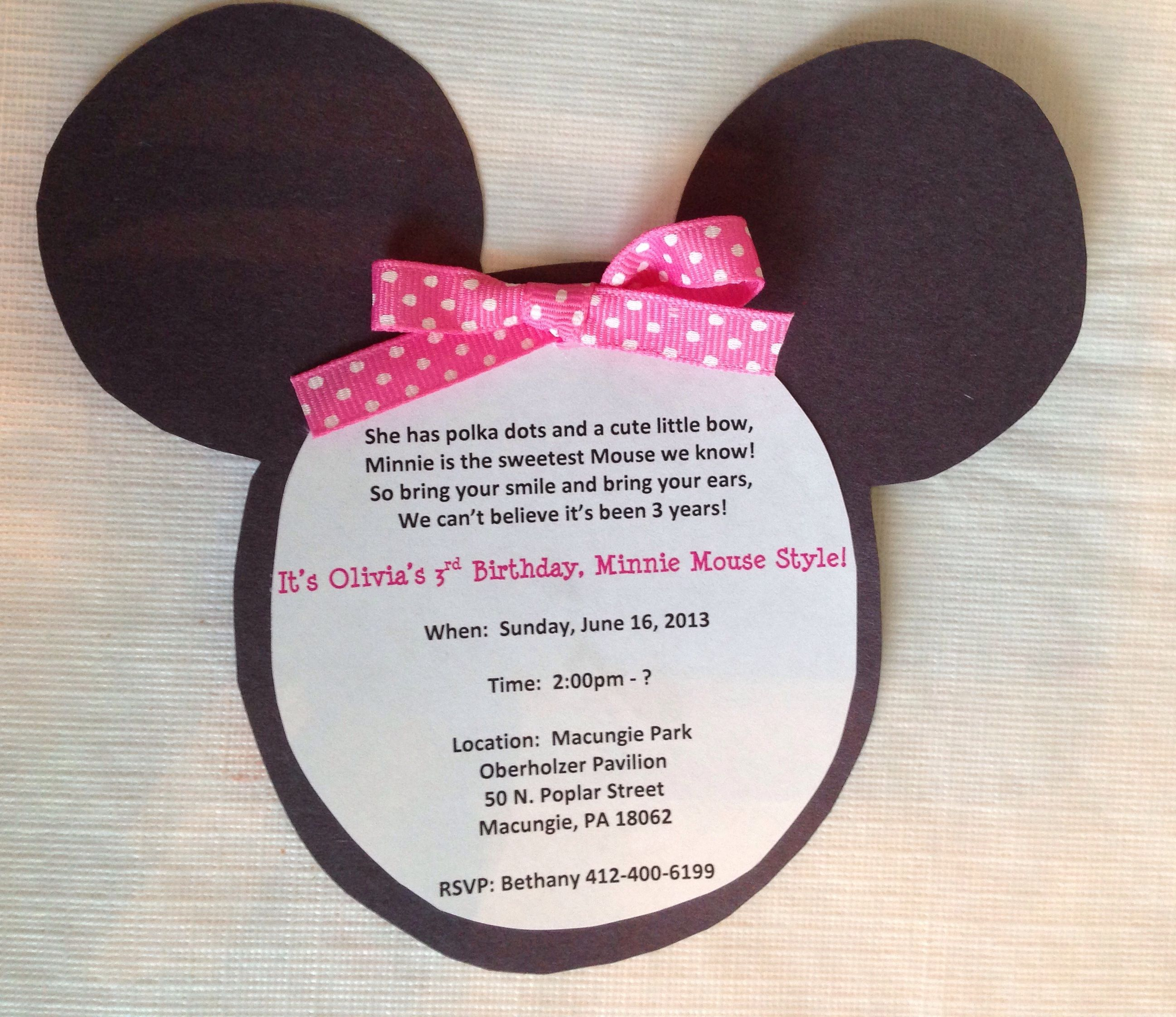 Minnie Mouse invitations _ I love the poem at the top.