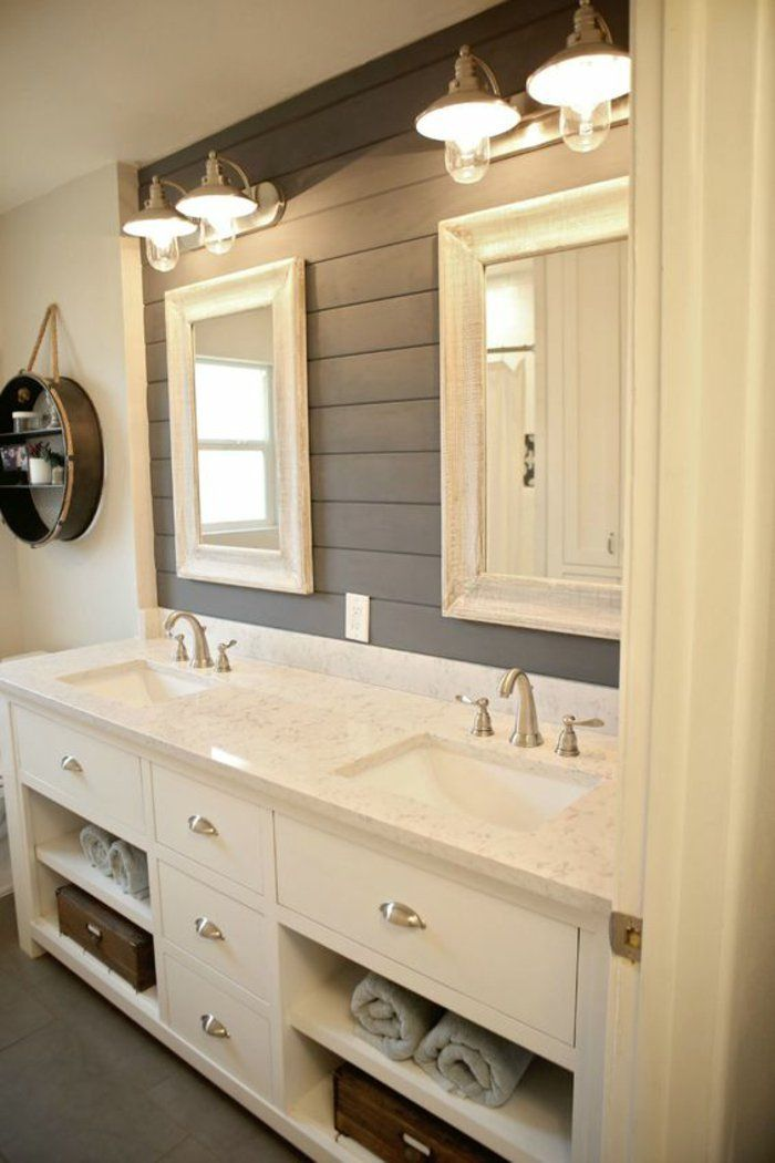 photos of remodeled bathrooms%0A Shiplap is still all the rage  and its super easy to add to your bathroom   The Everyday Home shares    Fabulous Farmhouse Style Shiplap Bathroom ideas