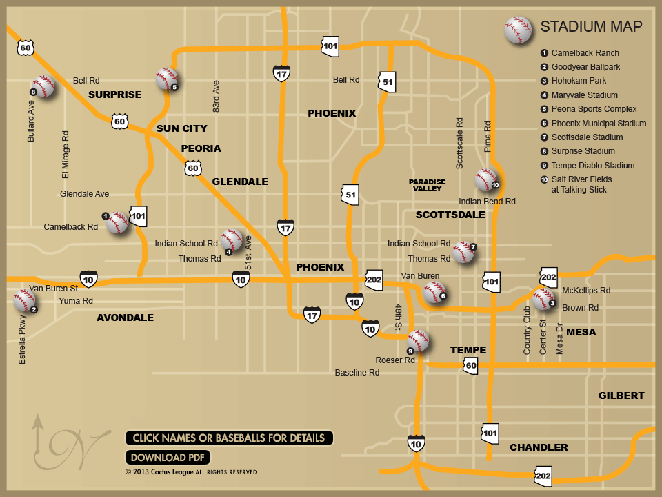 cactus league spring training stadium map click on a baseball and then click on your favorite team for schedule information