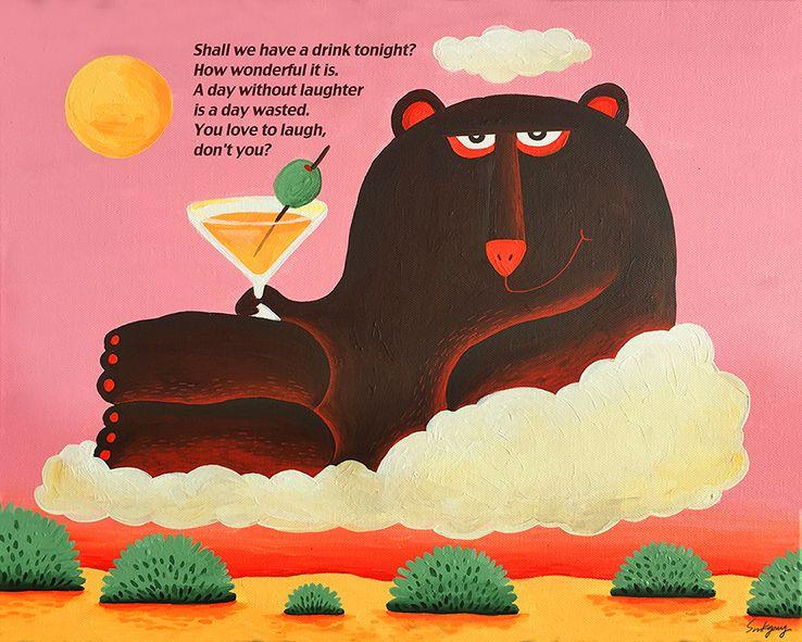 Shall we have a drink tonight?_Einmal its keinmal. 500mm x 400mm  Acrylic Gouache on a canvas  햇빛이 들쑥 날쑥해서 늘 예쁜 원화의 색을 담기 어렵지만, 부어라 마셔라 마티니 곰. 두둥실 두리둥실.  한 잔 할까요?