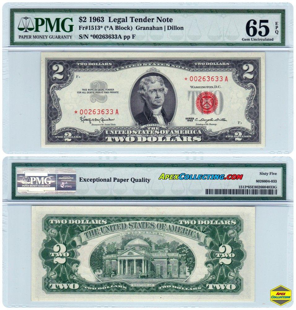 series 1963 two dollar red seal star u s legal tender