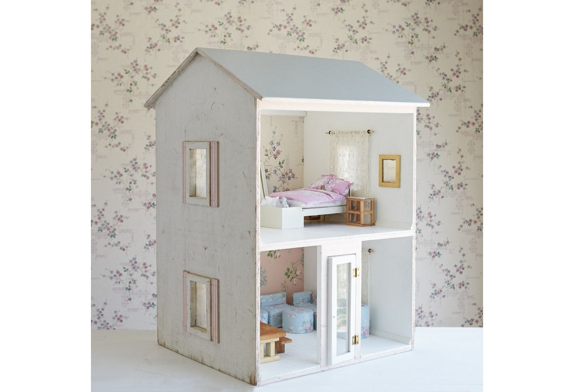 Vintage Tall Dollhouse with Pink Trim