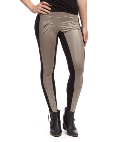 $12.99  marked down from $60!! Black & Beige Color Block Zip Leggings #colorblock #leggings #pants #beige #black #fashion #trendy #sale #zulily #zulilyfinds