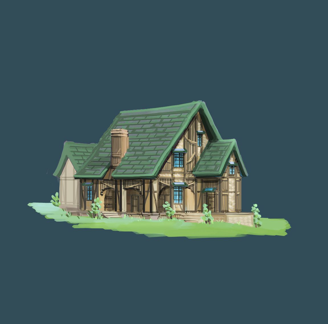 녹색 지붕 건물  #art #artwork #architecture #design #illustration #photoshop #cs6 #그림 #fantasy #conceptart #landscape #game #gameart #perspective #배경원화 #지제이#painting #color #minimal