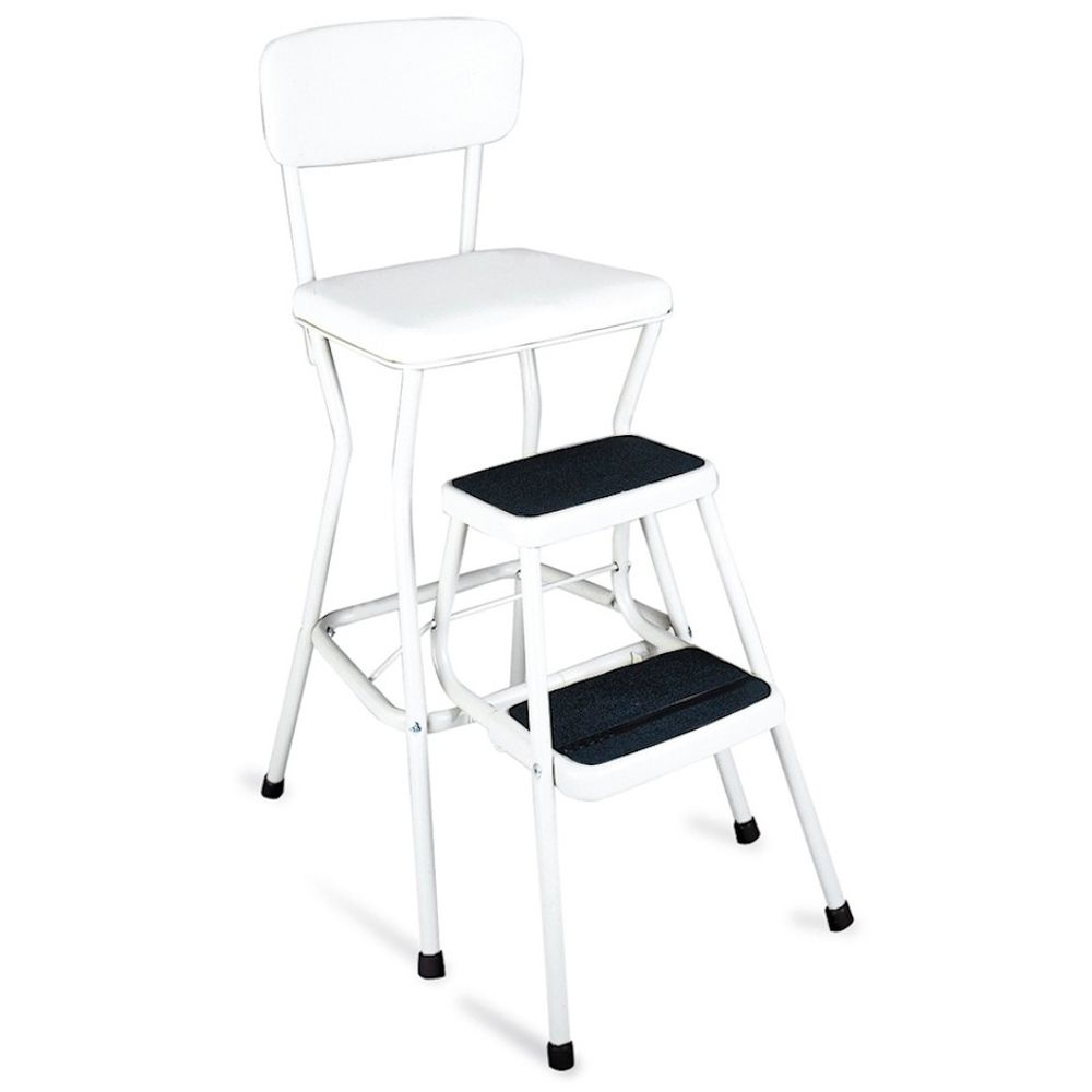 Cosco Retro White Counter Chair Step Stool White
