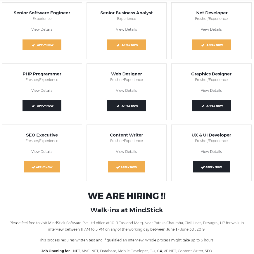 Job hiring is going on in MindStick company Allahabad