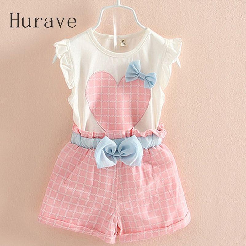 4aa0360c1836 Cheap 2017 verano Coreano ropa niñas establece niños del corazón del ...