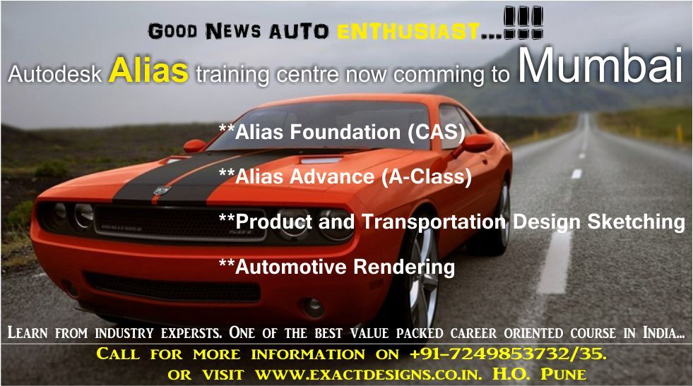 Friends Good News We Are Comming To Mumbai You Don T Need To Come To Pune To Learn Autodesk Alias Lear Transportation Design Training Center Good News