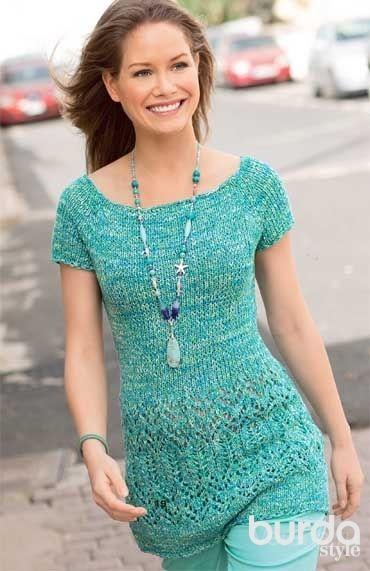 Платье с ажурными косами и коротким рукавом схема спицами Люблю Вязать