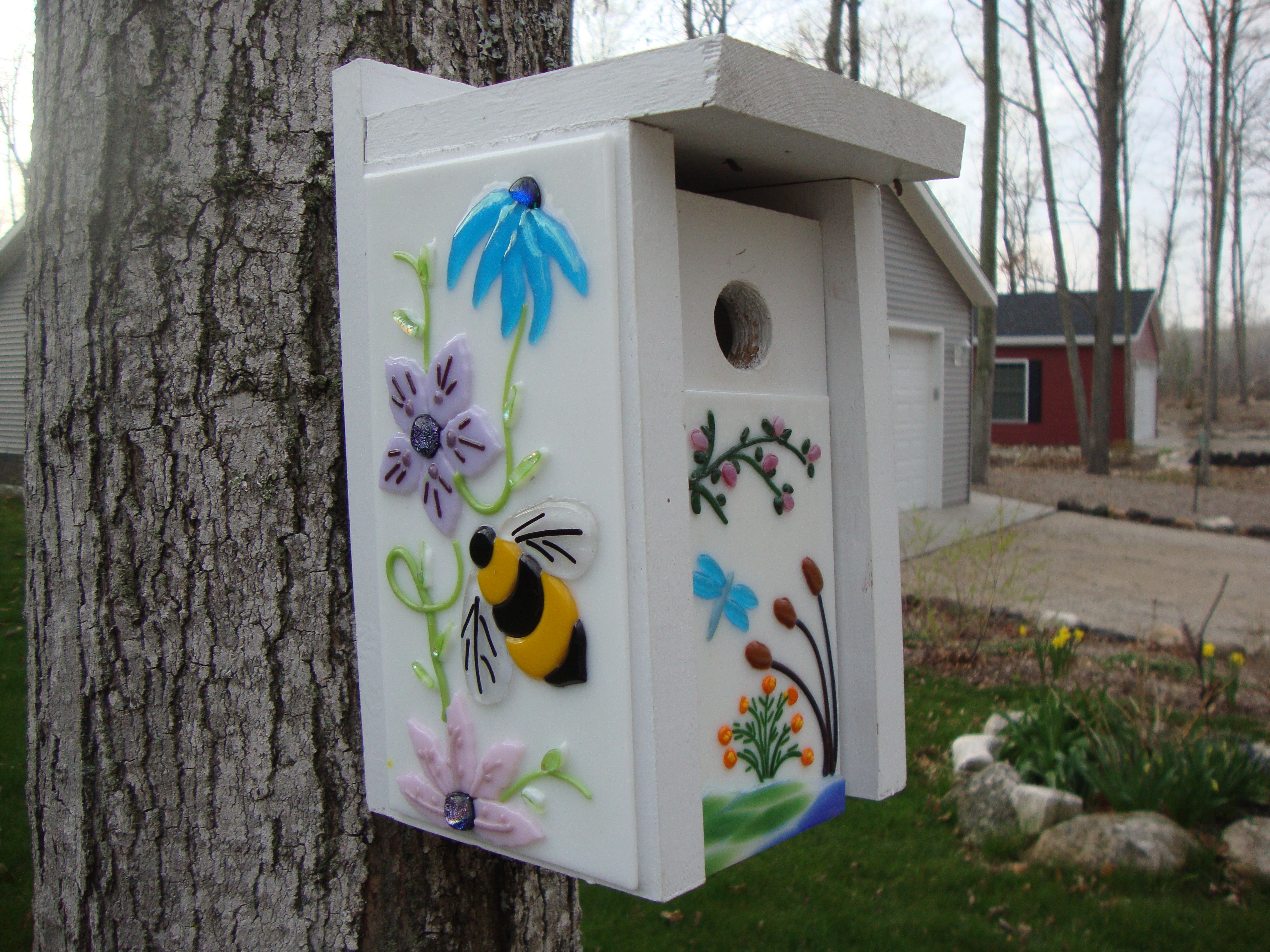 small resolution of blue bird house with fused glass panels michelle kemp