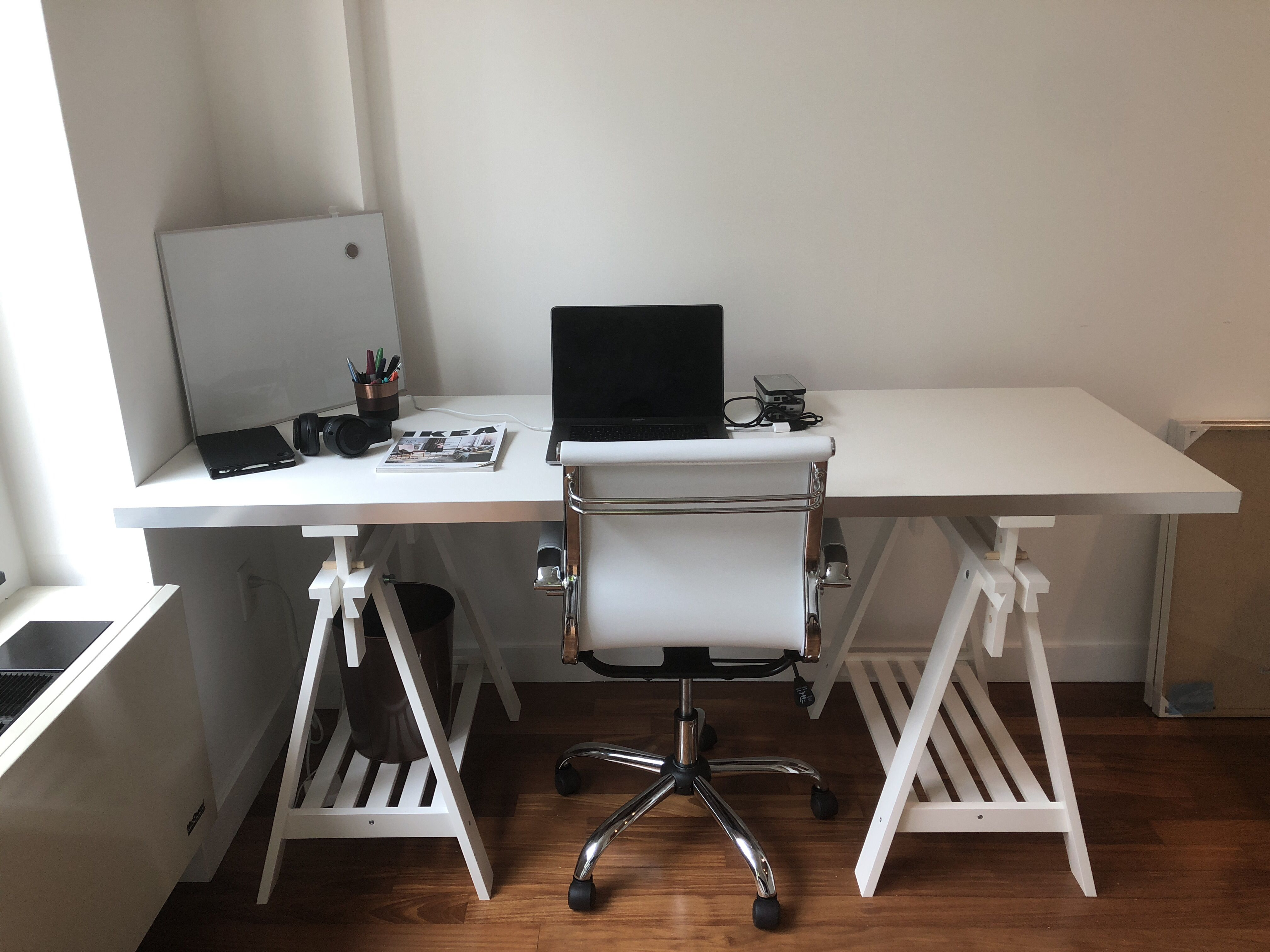 Ikea Desk Hack With White Finnvard Trestle Legs And A Hallestad