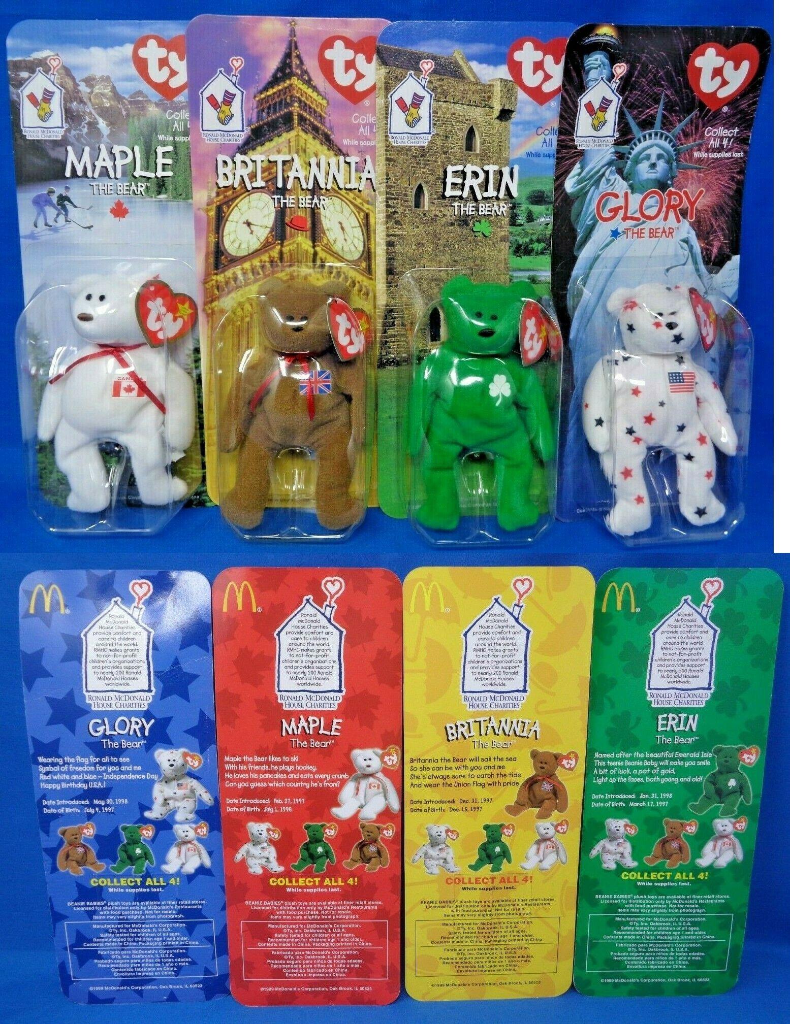 907720ce921 Teenie Beanies 441  1999 Mcdonald S Ty Teenie Beanie Babies Set Of 4 Maple