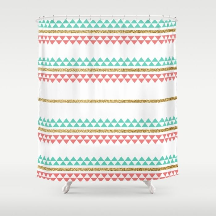 Mint Coral Gold Glitter Tiny Triangle Stripes Shower Curtain