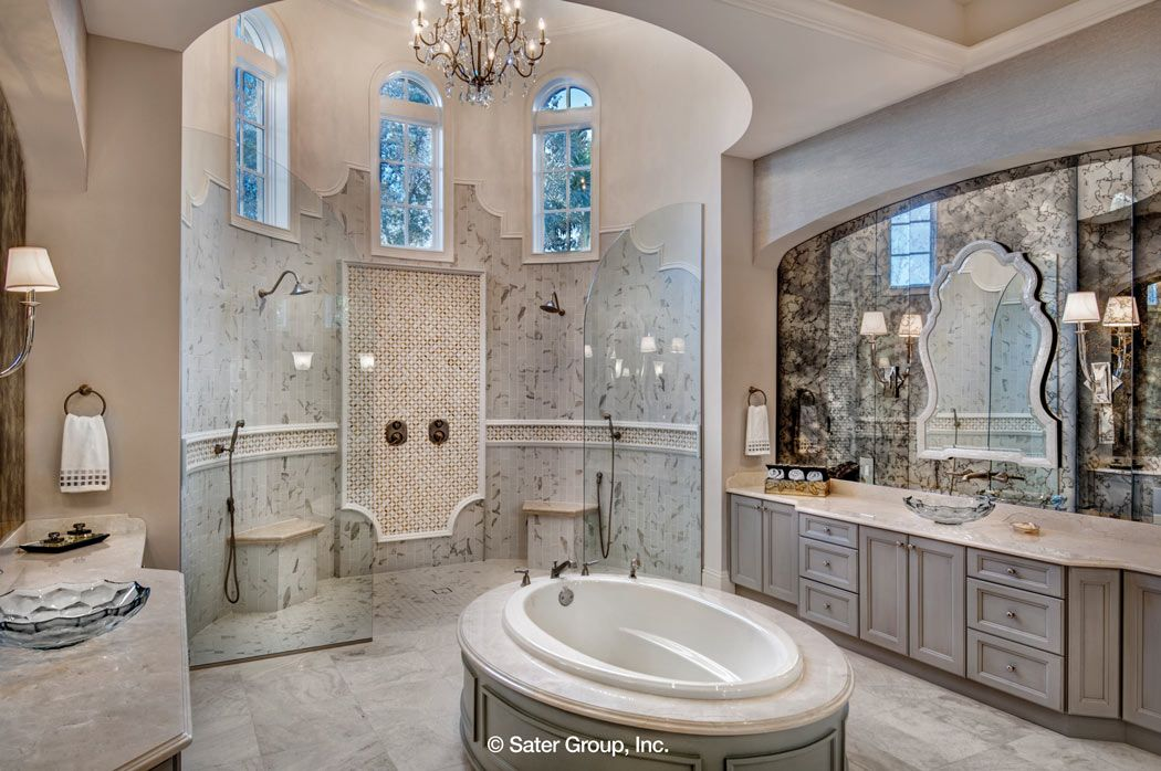 The master suite bathroom has a large
