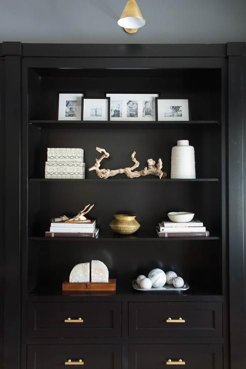 gorgeous home office features a glossy black built in shelves and rh pinterest com