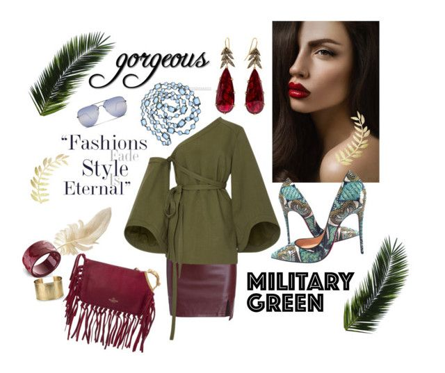 """""""Gorgeous Military Green"""" by missysmith3 ❤ liked on Polyvore featuring Christian Louboutin, Chanel, Rosie Assoulin, Valentino, Blue Nile, instagram, fashionbloggers and polyvorecontest"""