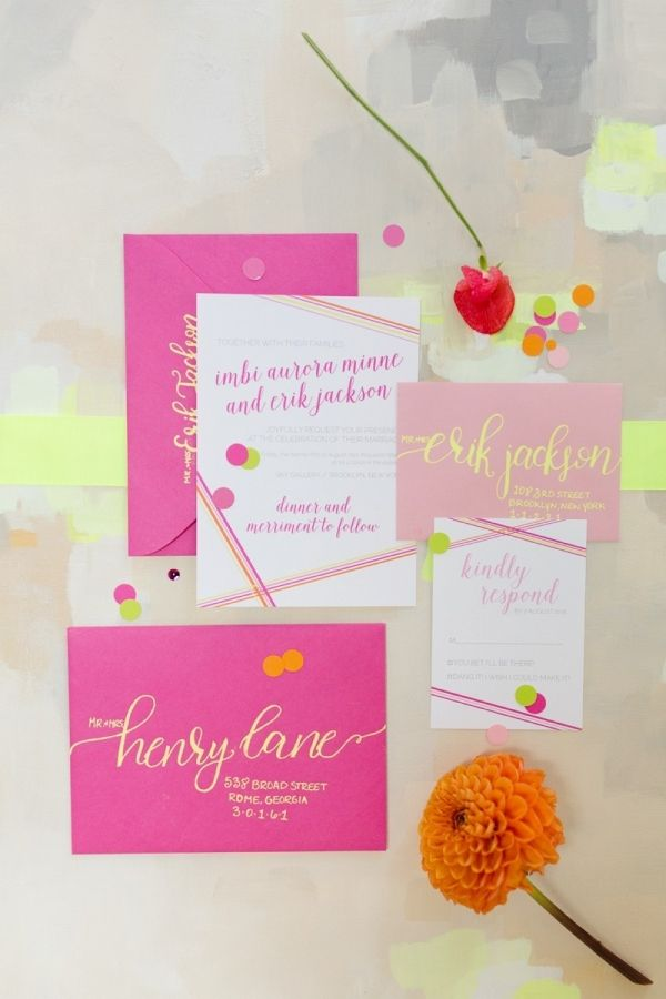 paper style wedding invitations%0A Neon Wedding Invitations   Jessica Haley Photography on  eld lauren via   aislesociety