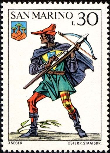 Sello: Uniforms (San Marino) (Crossbow Tournament) Mi:SM 1050,Sn:SM 823,Un:SM 901
