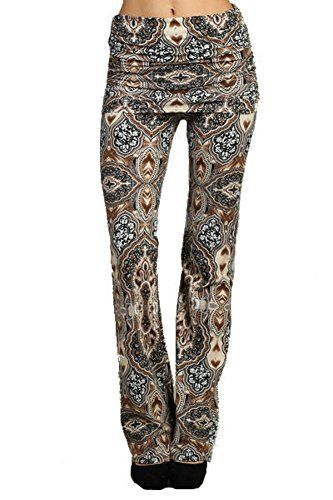 Chatoyant Women's Skirted Boot Cut Ruched Waist Yoga Pants Brown Multi-color (Small) Chatoyant http://www.amazon.com/dp/B00P0DHIIY/ref=cm_sw_r_pi_dp_aFOyvb0JTNXD0