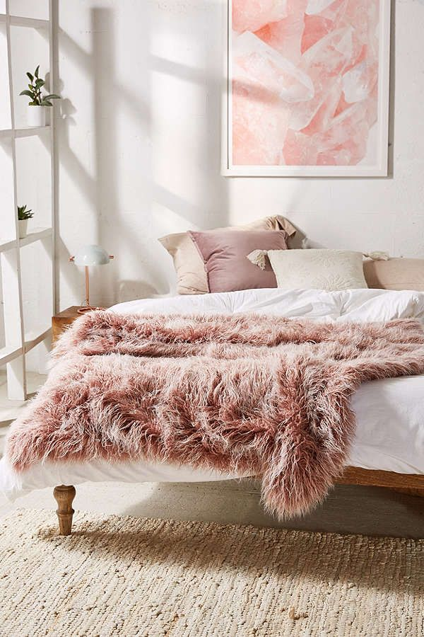 Dorm Marisa Tipped Faux Fur Throw Blanket