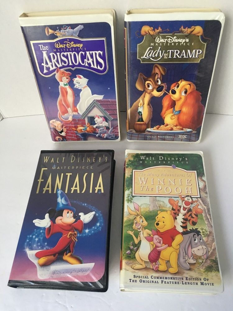 Lot Of 4 Disney Vhs Tapes Winnie Lady The Tramp Fantasia Aristocats Disney Vhs Tapes Aristocats Lady And The Tramp