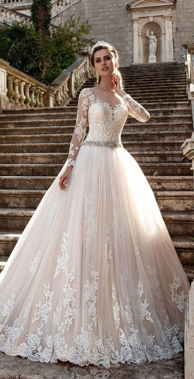 US$225.49-Beautiful Best Bell Beaded Tulle Lace Wedding Dress with ...
