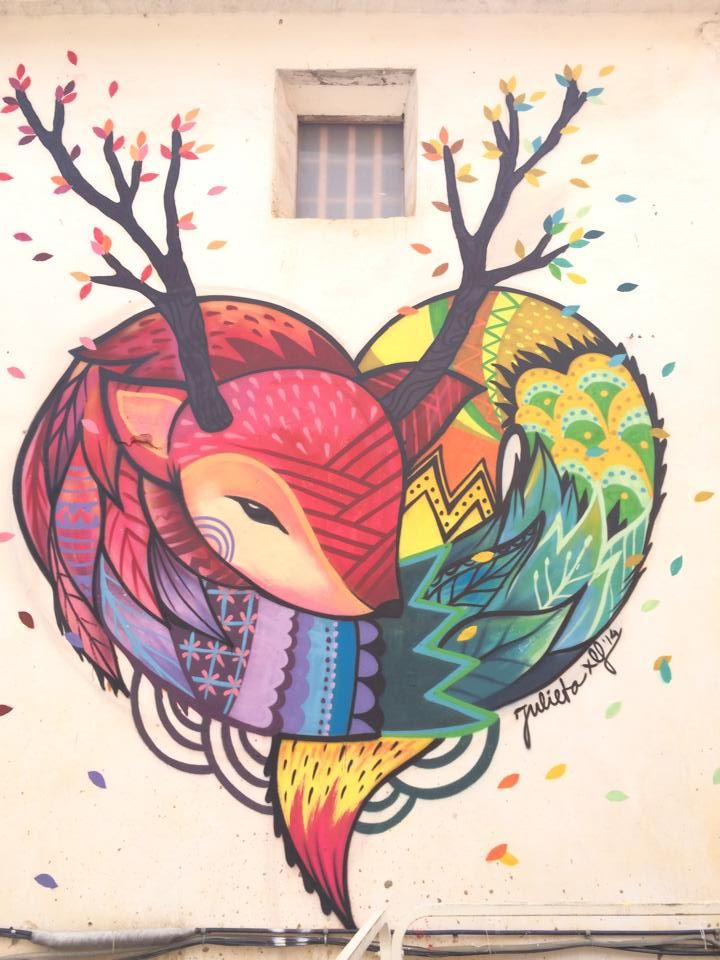 Street art by Julieta.XLF in Fanzara, Valenciana, Spain.