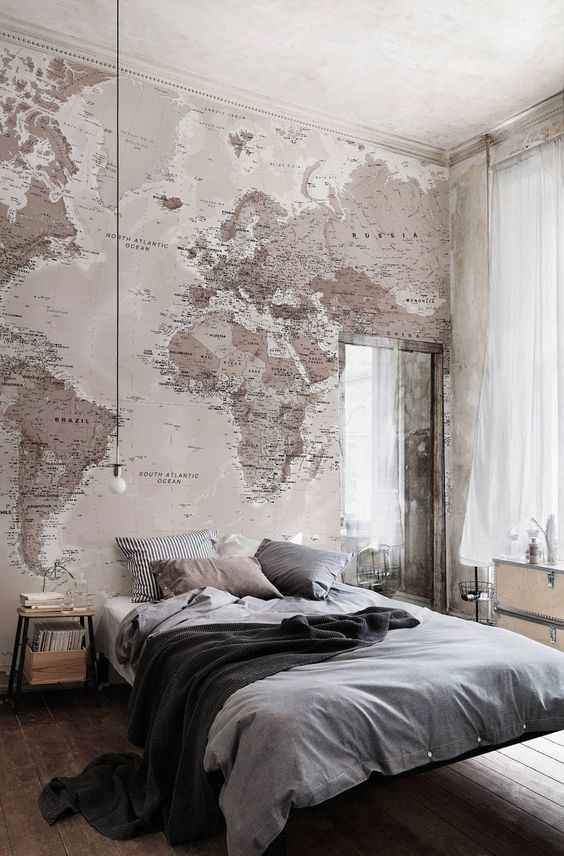 Industrial bedroom Neutral Shades World Map Wallpaper