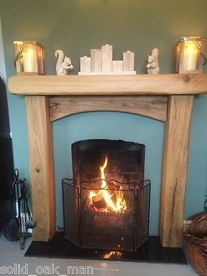 details about 6 3 solid oak beam wooden rustic fireplace rh pinterest com