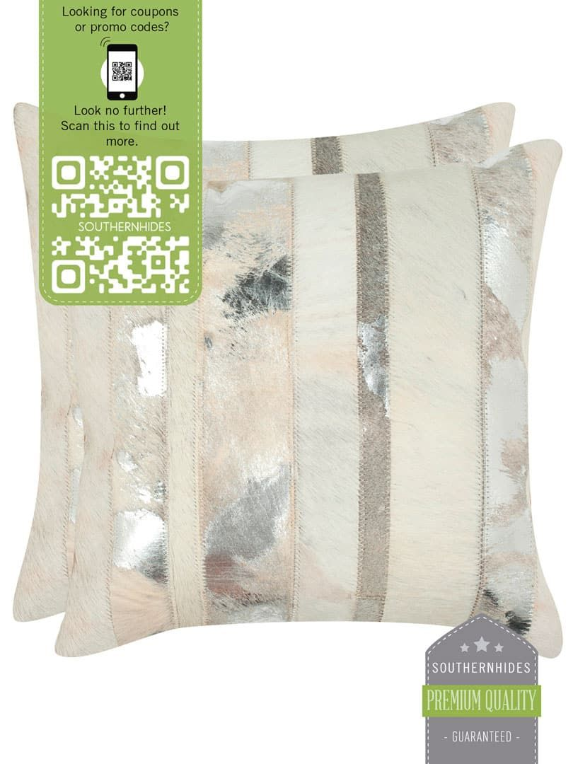 Metallic Silver Cowhide Pillow Cover Hide Cushions Skin Leather