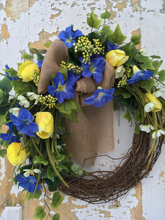 Photo of Items similar to Spring Rustic Wreath, Front Door Wreath on Etsy