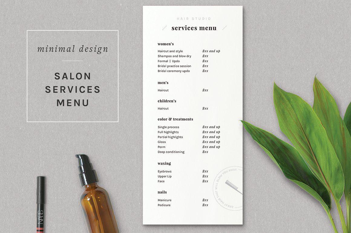 Modern Salon Price List Template Price list template
