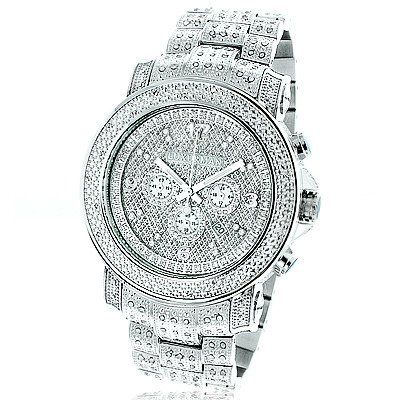 Oversized Iced Out Mens Diamond Watch by Luxurman White Gold Plated ... 35c59f9a54
