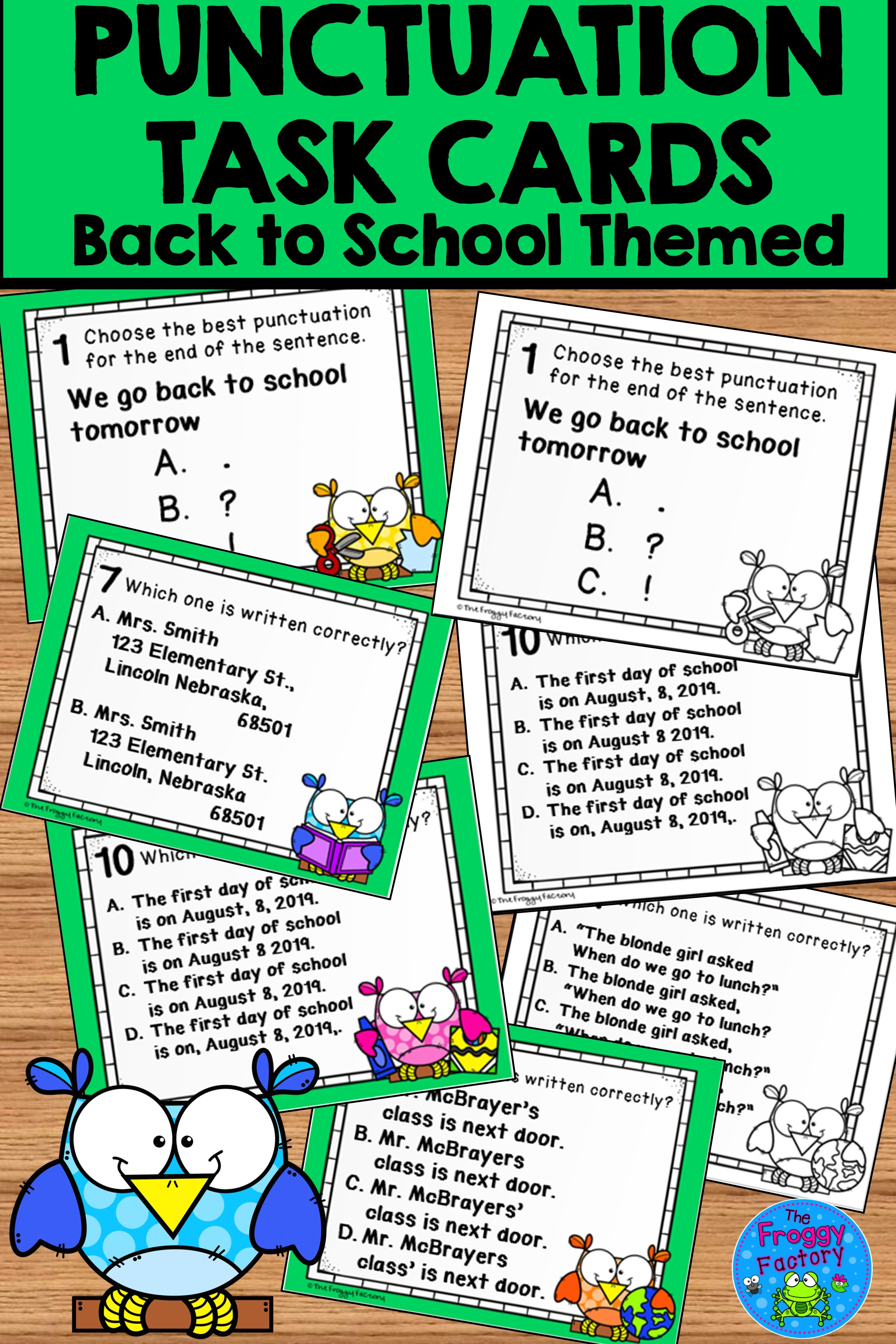 Punctuation Task Cards Back To School Activity