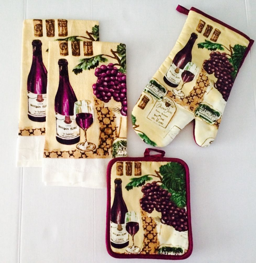 Details about purple wine kitchen towel set w potholder for Wine themed kitchen ideas