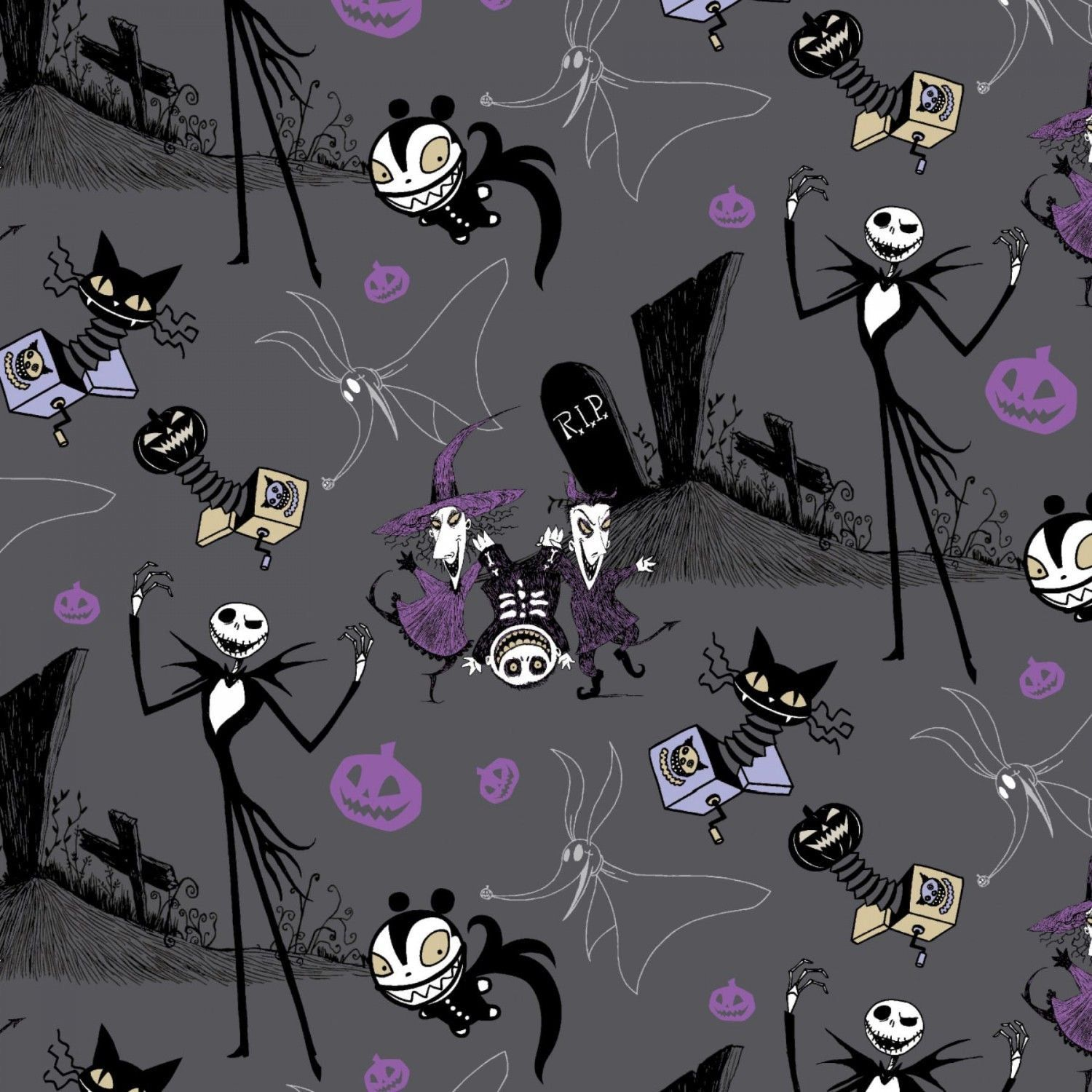 HALF YARD Camelot Nightmare Before Christmas On The Hill Swirls Grey