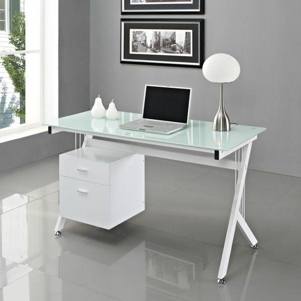 Billig Schreibtisch Weiss Mit Glasplatte Mit Bildern