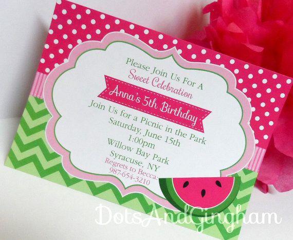 watermelon invitation-chevron watermelon invitation-pink, Birthday invitations