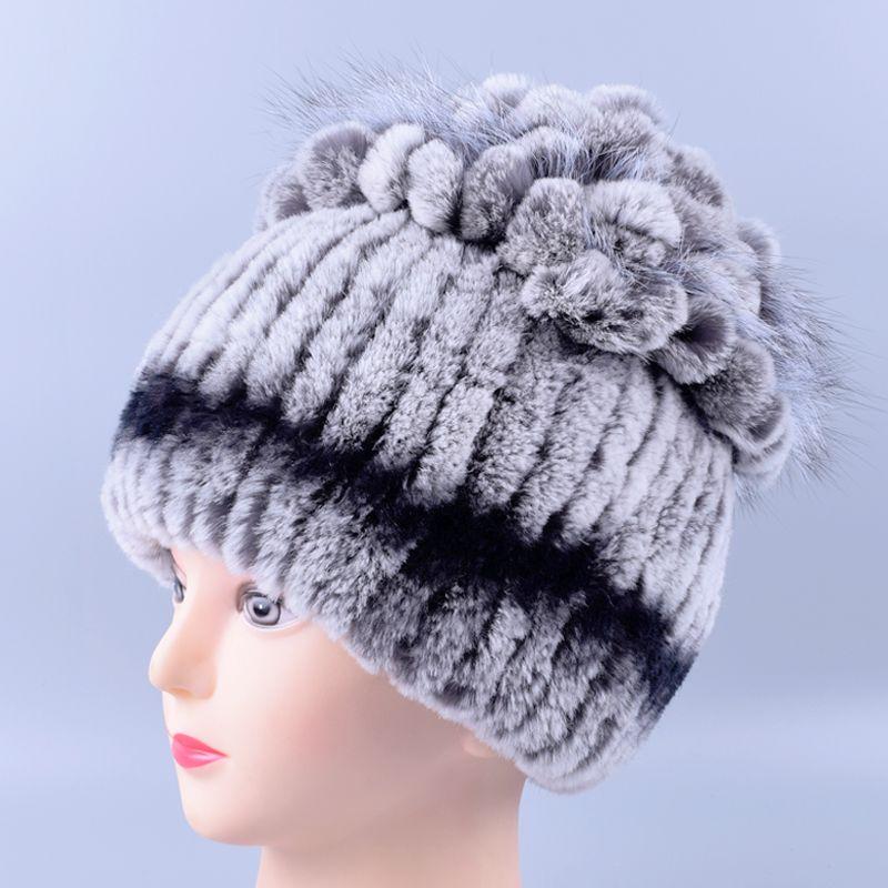 Sombrero de invierno para Las Mujeres de Piel de Conejo Rex Sombrero de piel de Conejo Real + Gorros Elástico Señoras de La Manera Caliente de Piel de Zorro sombrero de La Princesa LQ11098