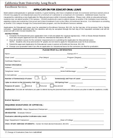 10+ Leave Application Form Templates Word, Excel  PDF Templates - leave application form template