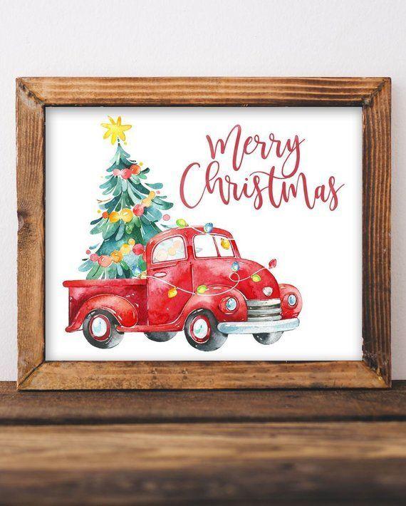 Merry Christmas Printable Wall Art Country Christmas Farm Etsy Merry Christmas Printable Christmas Signage Merry Christmas Poster